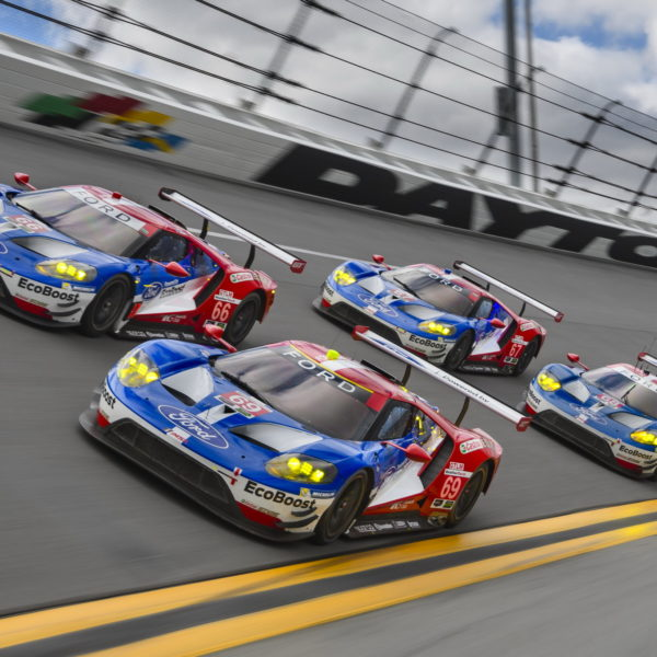 IMSA WeatherTech SportsCar Championship; The Roar before the Rolex 24; Daytona International Speedway; Ford Performance; 5-8 January, Daytona Beach, Florida, United States; 66 Ford Chip Ganassi Racing Ford GT; Joey Hand, Dirk Müller, Sébastien Bourdais; 67 Ford Chip Ganassi Racing Ford GT; Ryan Briscoe, Richard Westbrook, Scott Dixon; 68 Ford Chip Ganassi Team UK Ford GT; Billy Johnson, Stefan Müke, Olivier Pla; 69 Ford Chip Ganassi Team UK Ford GT; Andy Priaulx, Harry Tincknell, Tony Kanaan; © 2017 Wes Duenkel